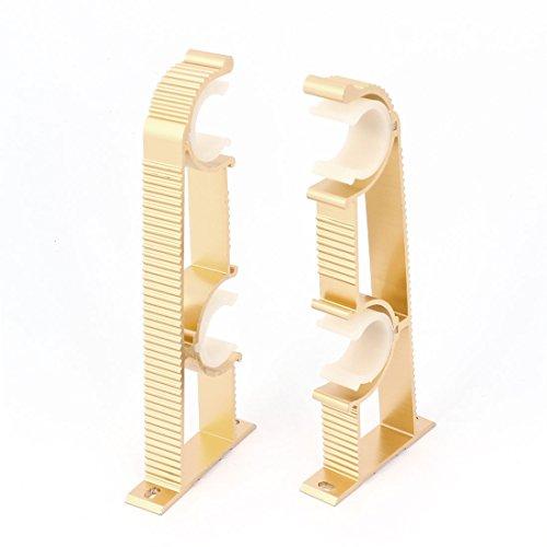 Aexit 2pcs 1' '25 mm Clips dobles Cortina Barra de cortina Montaje en pared (model: I7216IIIVII-6170JN) Soporte Tono dorado