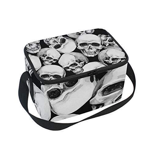 Alinlo Lunchbox mit Totenkopfmuster, Reißverschluss, isoliert, für Picknick, Schule, Damen, Herren, Kinder
