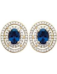 ISADY – Kate Middleton Or - Boucles d'oreille – Clous - Plaqué Or 750/000 (18 carats) – Oxyde de zirconium saphir bleu et transparent