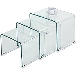 Anaelle Panana Lot de 3 Tables Basses Gigognes Moderne en Verre sur Chambre, Salon, Salle de Bain, Bureau (Transparent)