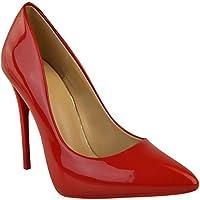 FASHION Thirsty nero da donna scarpa décolleté tacco alto alla moda da  occasione formale FESTA misura NUOVO - VERNICE ROSSA 1f4dbfda88a