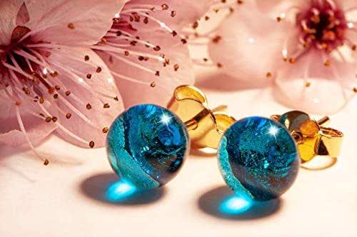 Orecchini Turchesi in vetro di Murano, Creazioni Pireta, placcato in oro 18k, anallergico, fatto a mano, hand made, Made in Italy, orecchino a bottone, regalo perfetto per lei.