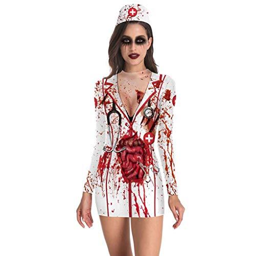 IZHH Halloween Kostüm Damen Doktor Kostüm Krankenschwester Kleidung Cosplay Minikleid Blut Horror Kostüm Karneval Frauen Geschenk(Weiß,L) -