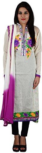 Raj Nandini Suits & Sarees Women's Chanderi Silk Semi Stitched Salwar Suit Set(RajNandini17 _ P