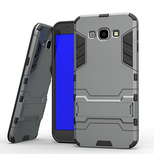 Delkart Armor Defender Series Hybrid TPU PC Kickstand Kick Stand Case Cover for Samsung Galaxy J2 (2016) (Grey)