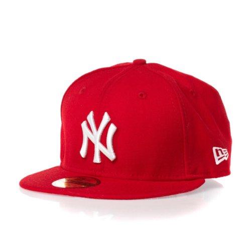 New Era Erwachsene Baseball Cap Mütze Mlb Basic NY Yankees 59Fifty Fitted Weiß/Rot