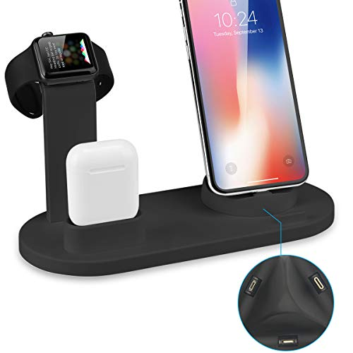 Wonsidary Soporte para iPhone Airpods iWatch 5 en 1 Charging Stand Docks  para Airpods iWatch Cellphone, Holder para Apple Watch Series4 3 2 1  AirPods