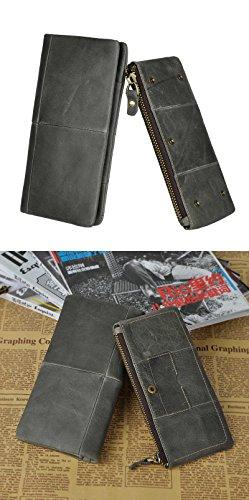 Le'aokuu EchtLeder Herren Große Kapazität Snap Button Geldslammer Geldbeutel Geldbörse Brieftasche Portemonnaie Kartenhüllen Reißverschluss-Tasche 1029 grau 2