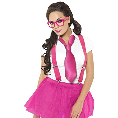 Adult Ladies Womens Girls Pink Glam Geek Nerd Secretary Hen Party Fancy Dress Costume Choose to Include a Pink Tutu and White Stockings (Geek Kit Only (Glasses Braces & Tie)) (Party Nerd Supplies)