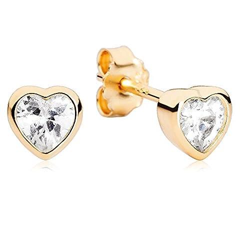 Alpensilver Silber Herz Ohrstecker – 925 Sterling Silber mit Zirkonia – 14k Gold Vergoldet – Perfektes Geschenk für Frauen & Mädchen – Zeitloses Design