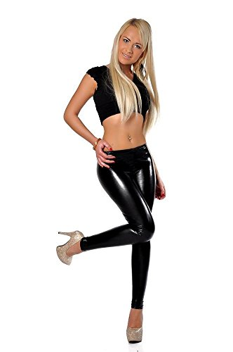 Schwarz Metallic-leggings (Leggings Metallic Latex Wet Look Lack Leder Optik Gr. 36 38 40 S M L 905 Schwarz L/40)