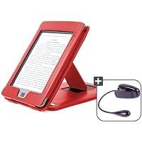 """DURAGADGET Funda Roja De Cuero Con Soporte Para El Nuevo Kindle Touch, Wi-Fi,6"""" De Amazon (Última Generación, Marzo 2012) + Luz LED De Lectura Clip On"""