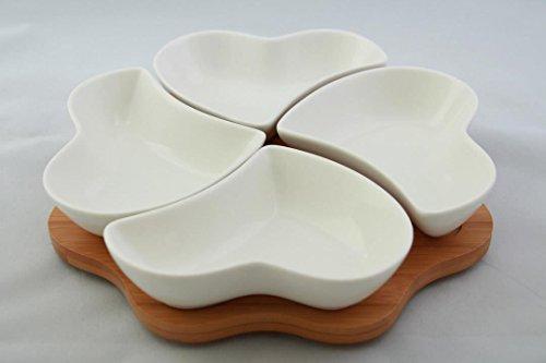 Bambus Dipschalen Set 5-tlg. Schalen aus Porzellan Servierschale Snackschale