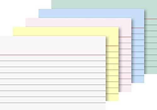 Brunnen 102279195 - Cartoncini per schedario formato A7, a righe, colori assortiti, confezione da 200 pezzi