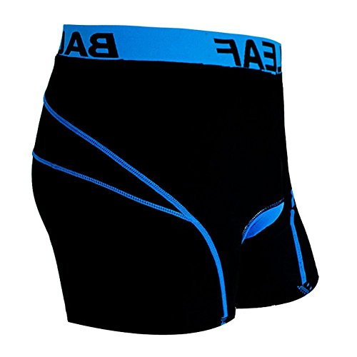 Baleaf Men's 3D Padded Cool Max Bicycle Underwear Shorts – Black/Blue, X-Large
