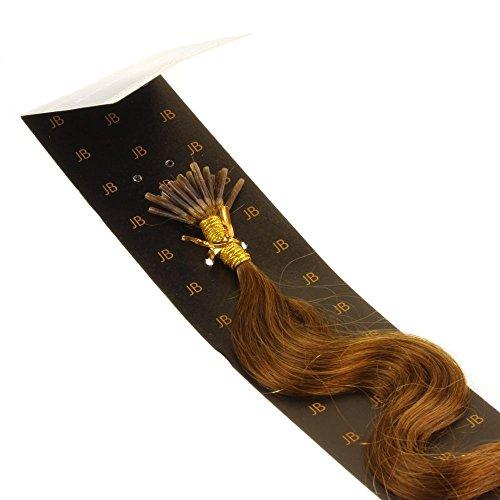 Just Beautiful Hair and Cosmetics Extensions de cheveux naturels 50 cm 0,5 g Mèches d'extensions remy Micro/I Tip Frisés, extension de cheveux