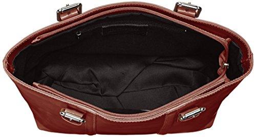 CTM Borsa da Donna a Mano Classica Elegante, 34x30x11cm, Vera Pelle 100% Made in Italy Marrone