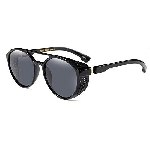 SunglassesNS Yxsd Occhiali da sole rotondi vintage, stile punk box completo da donna, protezione da vento per le vacanze e protezione UV proteggere gli occhi (Colore : Nero)