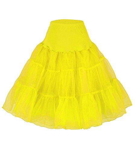 XYX FRAUEN Hochzeitspetticoat TUTU RETRO Rock n Roll der 50er Jahre Vintage-Rock 27 (L-XL, gelb) (Frauen Der 50er Jahre)