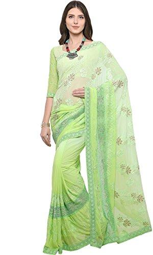 EthnicJunction Women's Chiffon Saree With Blouse Piece (Ej1168-7006 _Green)
