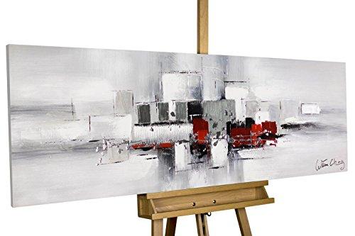 KunstLoft® Acryl-Gemälde \'Umringt von Nebel\' 150x50cm | original handgemalte Leinwand Bilder XXL | Abstrakt Rot Weiß Grau | Wandbild Acrylbild moderne Kunst einteilig mit Rahmen