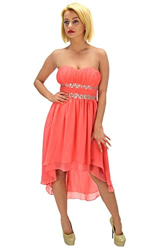 Trendiges High-Low Kleid mit Strasssteinen Coral Coral