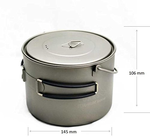 TOAKS 1600ML Titanium Cooking-Pot with heat-resistant Handles ultra-light sports design Cookware, healthy and ECO environmentally friendly, portable picnic kitchen Appliance for Outdoor Camping & Family Car-Travel, 210g, POT-1600-BH