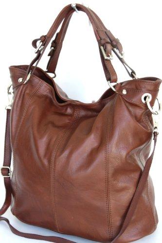 Shopper in pelle XL , spalla borsa con zip (DIN A4) Italia (MOD 2008-p) redbrown