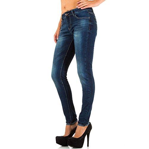 Damen Jeans, USED LOOK HÜFT SKINNY JEANS, KL-J-F007-1 Blau