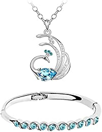 Om Jewells Fashion Jewellery Combo Of Feathery Pecock And Aqua Blue Crystal Studded Cuff Bracelet For Girls And...