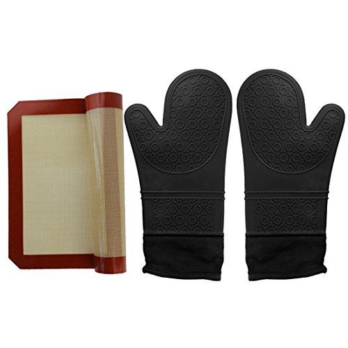 ANPHSIN Baking Accessori Set-extra lungo termoresistente antiscivolo in silicone guanti mezzi del forno e del bastone di silicone cottura Mat non