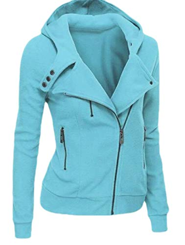 CuteRose Womens Hooded Zipper Fall Winter Tshirt Long-Sleeve Parka Outwear Sky Blue XS