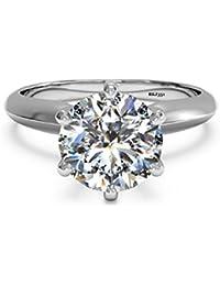 Solitario 2 ct carat D/VVS diamante brillante de corte redondo sólido 14 K oro blanco anillo de compromiso, boda,…