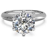 Solitario 2kt D/VVS taglio brillante rotondo diamante oro bianco 14K Anniversario Matrimonio Fidanzamento Anello Donna, taglia o - Vintage Diamante Solitario