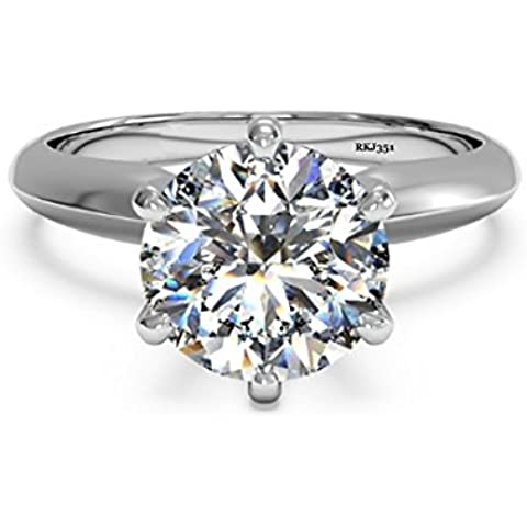 Solitario 2ct carat D/VVS diamante brillante de corte redondo sólido 14K oro blanco anillo de compromiso, boda, aniversario de bodas mujer Ladies, talla