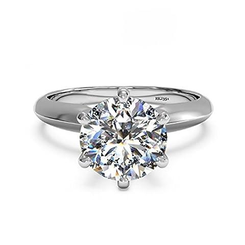 Solitaire 2ct Karat D/VVS Brillante rund Cut Diamant Solide 14K Weiß Gold Verlobungsring Hochzeit Brautschmuck Jahrestag Frau Damen Ring, UK Größe L1/2