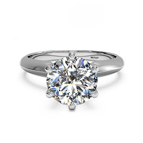 Solitario 2kt D/VVS taglio brillante rotondo diamante anello donna anniversario matrimonio fidanzamento in oro bianco massiccio 14K, taglia: J1/2