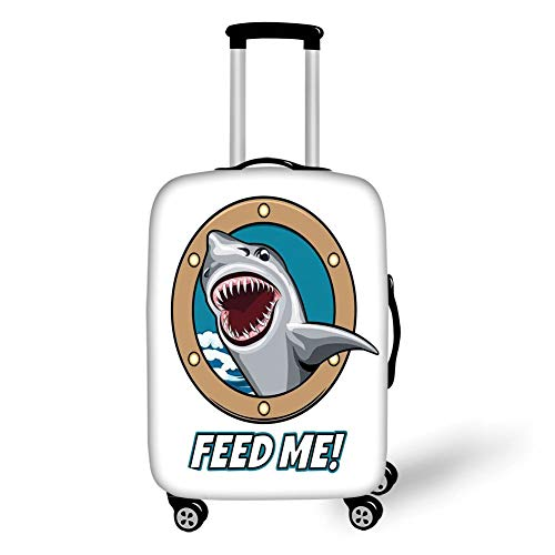 Travel Luggage Cover Suitcase Protector,Sea Animal Decor,Funny Vintage Quote with Hungry Hound Shark Head in Ship Window Humor Print,Multi,for Travel L