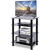 RFIVER Meuble TV HiFi Meuble Console de Rangement avec 4 Étagères Support TV DVD Lecteur HF1001