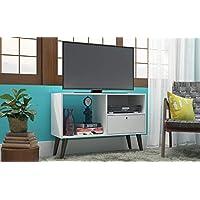 طاولة تلفزيون مصنوع من الخشب لون ابيض من بي ار في مقاس 90 × 63 × 35 سم