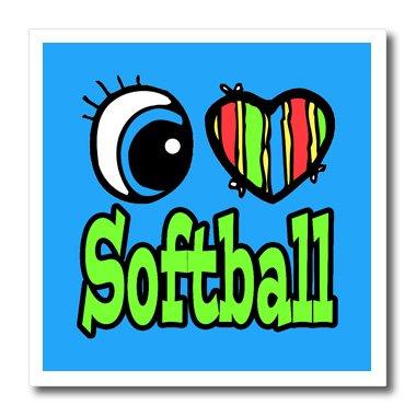 3dRose HT 106540_ 1Bright Eye Herz I Love Softball Eisernen, auf Wärmeübertragung, 820,3cm