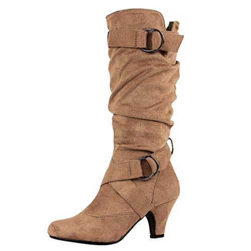 FeiBeauty Mode Retro Damen Hohe Stiefel Cross Strap Buckle Schuhe Round-Toe Warm Halten Winterstiefel Sexy Stiefel mit hohem Absatz