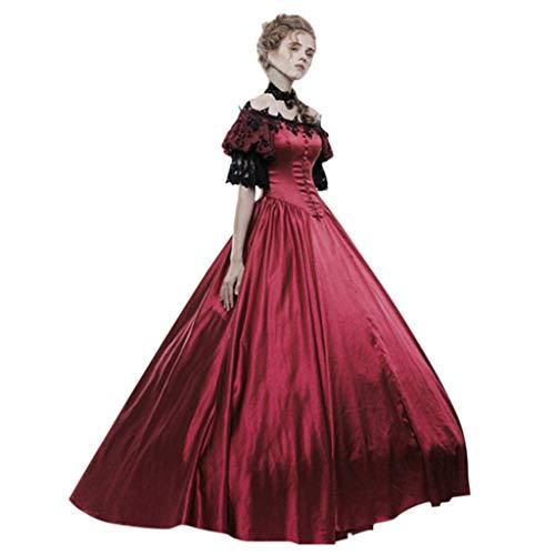 Modern Day Kostüm Prinzessin - Binggong Damen Kleid Vintage Mittelalterlichen Maxikleider Cosplay Kleider Partykleider Patchwork Gothic Jahrgang Prinzessin Renaissance Kostüm für Karneval Fasching Fasnacht