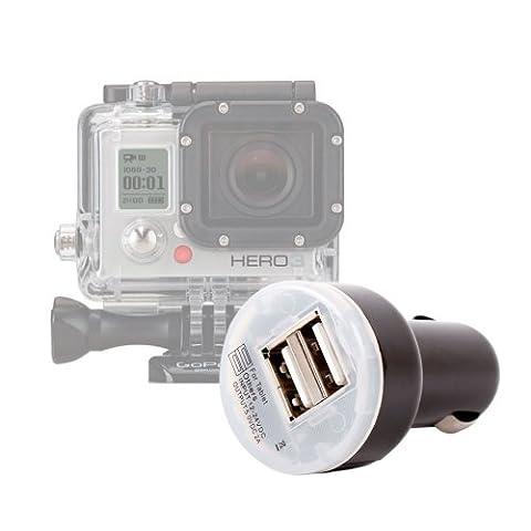 DURAGADGET Car Charger For All GoPro HD Hero Cameras (Go Pro Hero 3 Camcorder - AHDBT-201 AHDBT-301, Helmet, Motorsports, Surf, Naked) + 2 USB