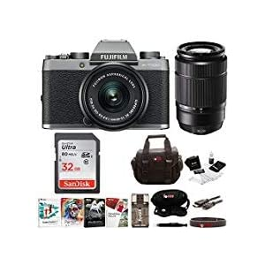 Fujifilm X-T100 Mirrorless Camera Body with XC15-45mm and XC50-230mm Lens Bundle (Dark Silver)