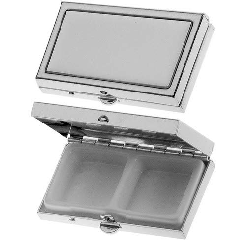 silberkanne Zahndose, Haardose, Pillendose 2 Fächer 1x2,5x5,3 cm Silber Plated versilbert in Premium Verarbeitung
