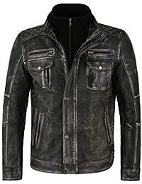 Smart Range Leather Co Ltd. Herren Lederjacke Distress Old Look Vintage  Schwarz Biker Style Lammfell 922da5f74c