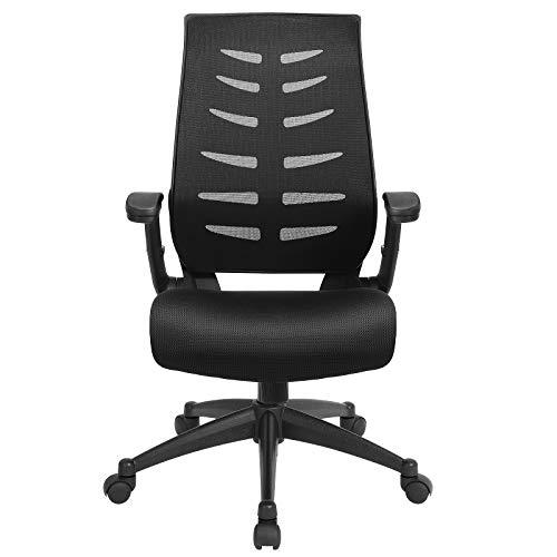 SONGMICS Bürostuhl, Ergonomischer Schreibtischstuhl, Computerstuhl mit Wippfunktion, Höhenverstellbare und hochklappbare Armlehnen, Belastbar bis 150 kg, Schwarz OBN54BK