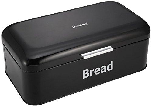 Lepik Brotkasten aus Metall, 42 x 23 x 16,5 cm, Schwarz Brotbox