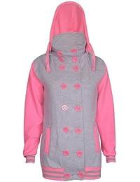 Womens New Baseball Long Neon Sleeve Ladies Stretch Pocket Button Detachable Hoodie Hoody Coat Top Jacket